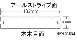Eee-Deck(リブ付無垢タイプ 133mm×26mm×2m)(EWH-DM135)の断面図